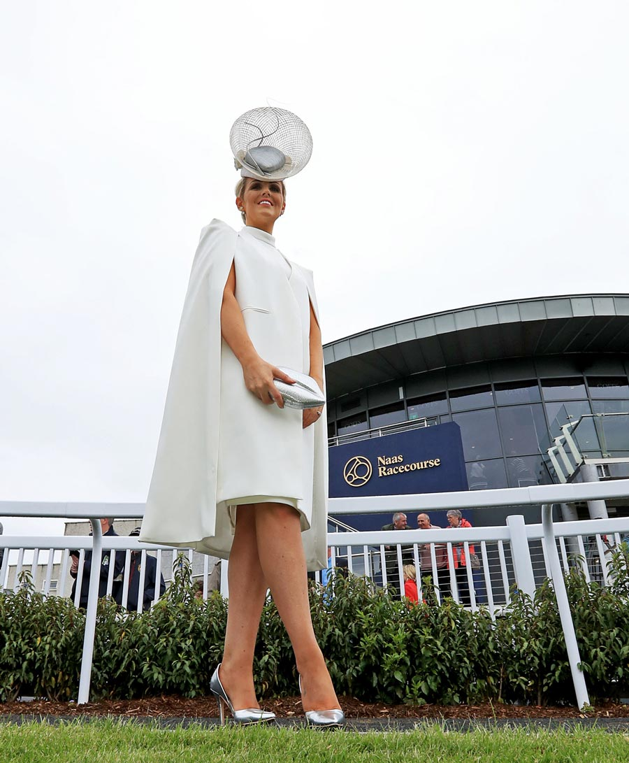 woman Charlene Byers wins Best Dressed Lady at Naas Racecourse on Royal Ascot Trials Day
